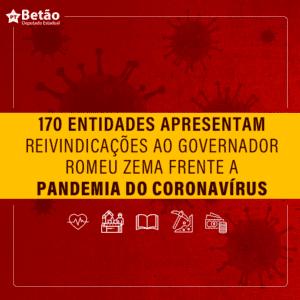 Mandato do Betão se junta à outras entidades e assina documento cobrando medidas do governo Zema durante a pandemia do coronavírus