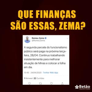 Zema anuncia pagamento de março dos servidores para o fim de abril; Fazenda não soluciona crise na pandemia e diz que podem faltar recursos para pagamentos de maio