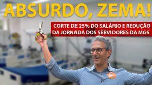 Sem diálogo, Zema anuncia redução da jornada de trabalho dos servidores da MGS e corte de 25% nos salários