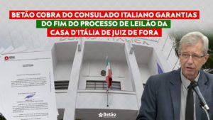 Betão cobra do consulado italiano garantias do fim do processo de leilão da Casa D'Itália