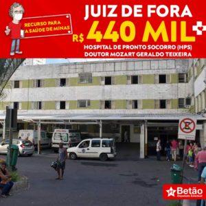 Recurso destinado pelo deputado Betão será usado para compra de insumos para o HPS – Hospital de Pronto Socorro Doutor Mozart Geraldo Teixeira em Juiz de Fora