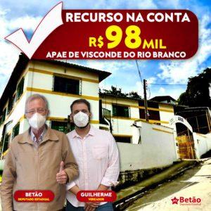 Betão destina recurso a APAE de Visconde do Rio Branco e emenda no valor de R$ 98 mil beneficiará outros cinco municípios